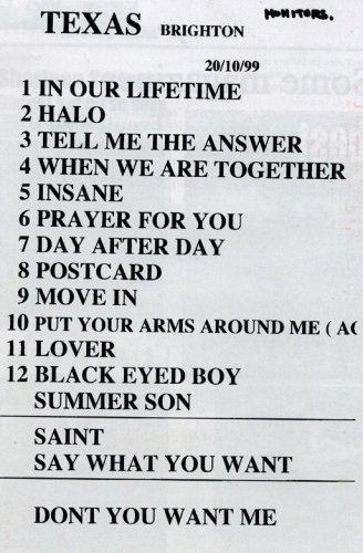 Setlist Brighton 20/10/99