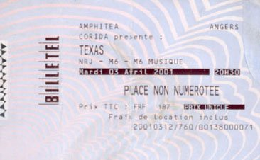 Ticket Angers 2001