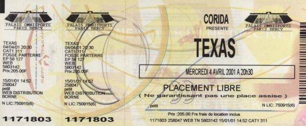 Ticket Paris Bercy 2001