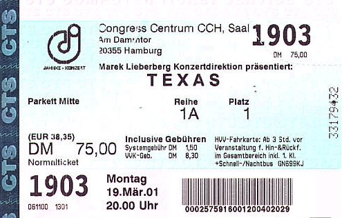 Ticket Hamburg 2001