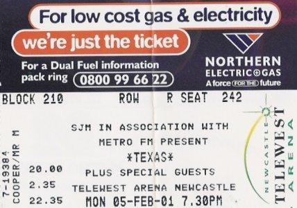 Newcastle 2001 Ticket