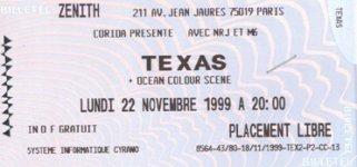 Ticket Paris 22/11/99